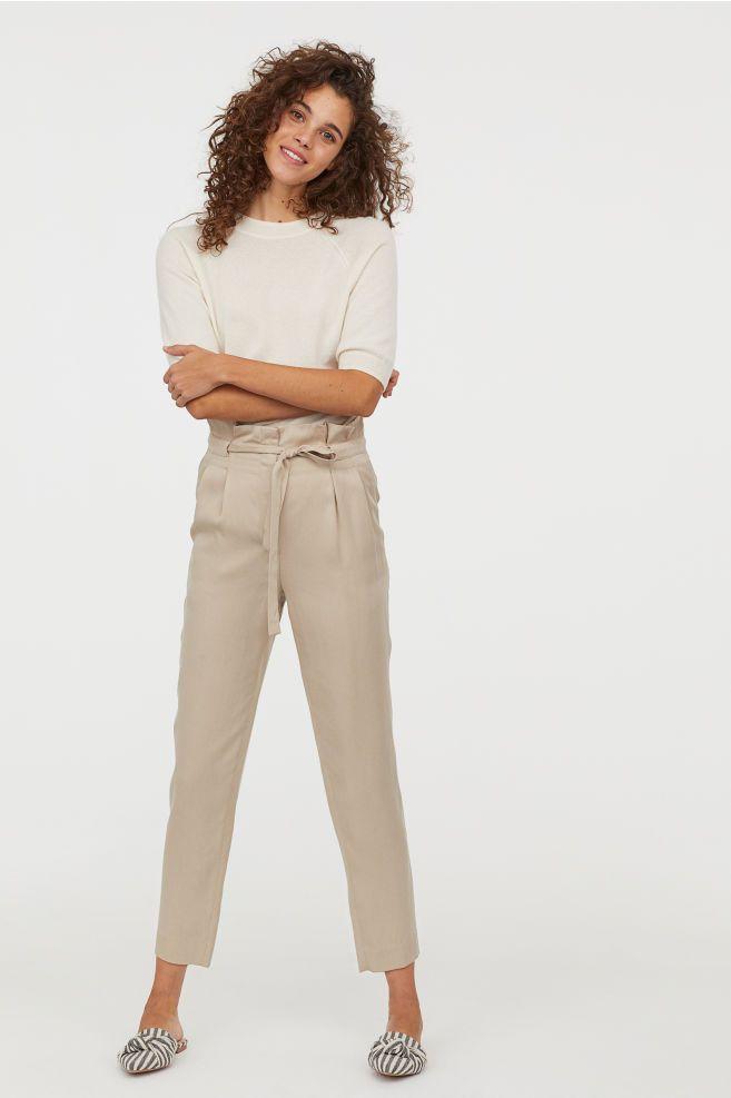 ed2c79df2c6920 H&M Paper-bag Pants - Beige in 2019 | Fashion inspiration | Paperbag ...