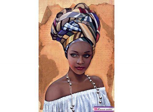 Папертоль «Африканка 2» Объемный декупаж, картина из бумаги, вырезание, 3D-изображение - Zvetnoe.ru - картины по номерам, картина по цифрам, раскраски по номерам