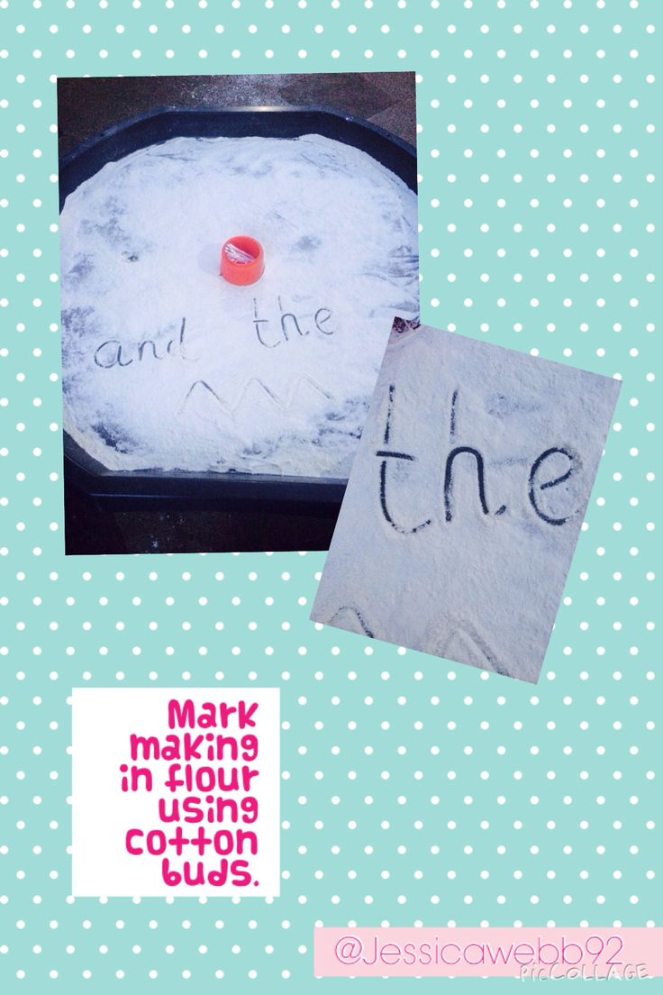 Writing / mark making in flour using cotton buds. EYFS