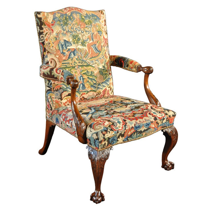 George II Mahogany and Needlework Upholstered Library Armchair - 147 Best Antique Chairs Images On Pinterest Chairs, Antique