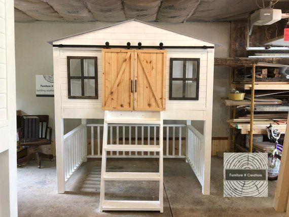 Full Size Farmhouse Barn Door Loft Bed With Stairs Kids Etsy House Beds Loft Bed Barn Door