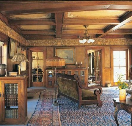 An Original Beamed Ceiling Decoration Scheme Survives At The Lanterman House In California