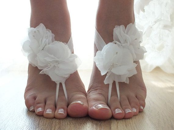 Free  ship Floral barefoot sandals, İvory 3D flowers sandals, Floral lace sandals Flexible wrist