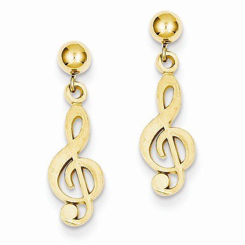 Solid 14k Yellow Gold Polished & Diamond Cut Treble Clef Dangle Post Earrings (22mm x 6mm). Elegant Earrings Box Included. 14k Yellow Gold GUARANTEED, Authenticated with a 14k Stamp. FREE Standard Shipping in USA. Made with Highest Quality Craftsmanship. Hassle Free 30 Day Full 100% Refund Policy.