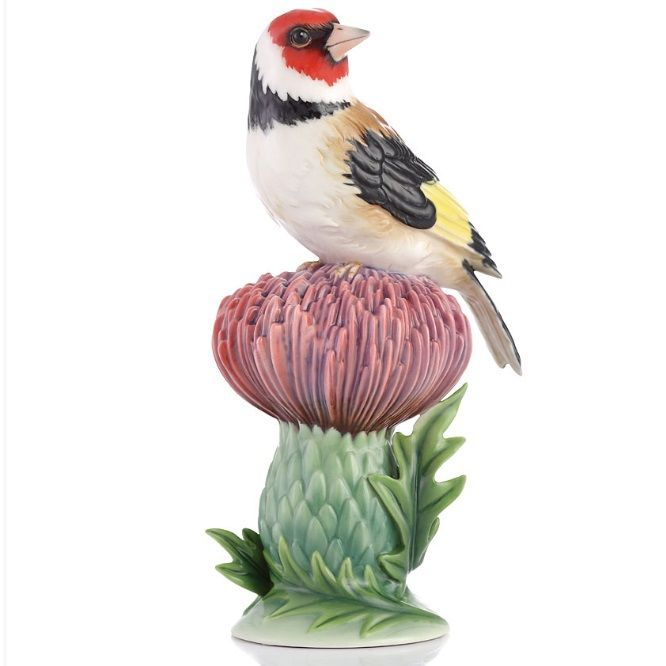 Goldfinch Vase | Sculptured Porcelain | Franz Porcelain