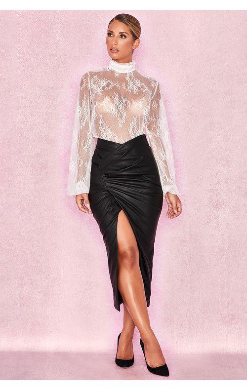 6ba7ac6e6 Clothing : Tops : 'Clara' White Sheer Lace High Neck Blouse | Sheer ...