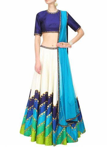 Blue Dupioni Raw Silk Circular Lehenga Choli ,Indian Dresses