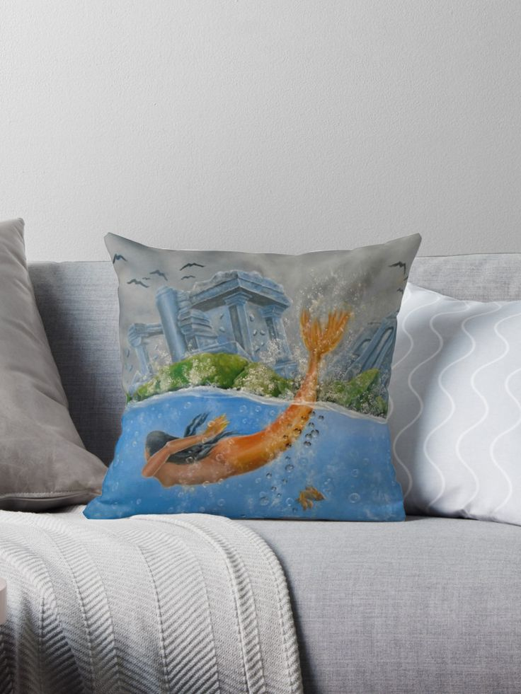 Throw Pillow,  home,accessories,sofa,couch,decor,mermaid,fantasy,blue,cool,beautiful,fancy,unique,trendy,artistic,awesome,fahionable,unusual,for,sale,design,ideas,redbubble