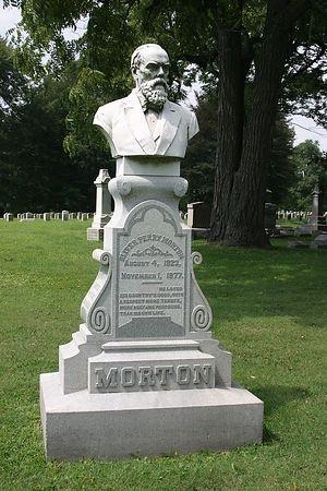 Oliver Morton, U.S. Senator and Indiana Civil War Governor, 1823 - 1877, Crown Hill Cemetery, Indianapolis.