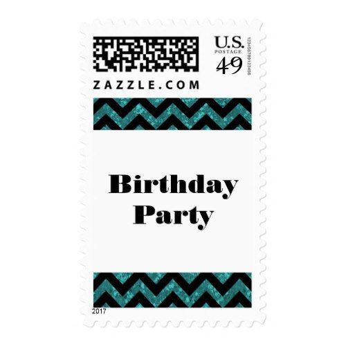 Turquoise Chevron Glitter Birthday Party Postage