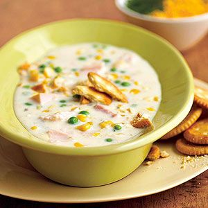 Corn Chowder Five ingredients and 20 minutes are all that is needed for a satisfying and chunky turkey soup for lunch or dinner.