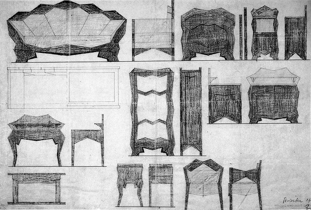 Josef Gočár, Designs for furniture for the actor Otto Boleška, 1913. by calypsospots, via Flickr