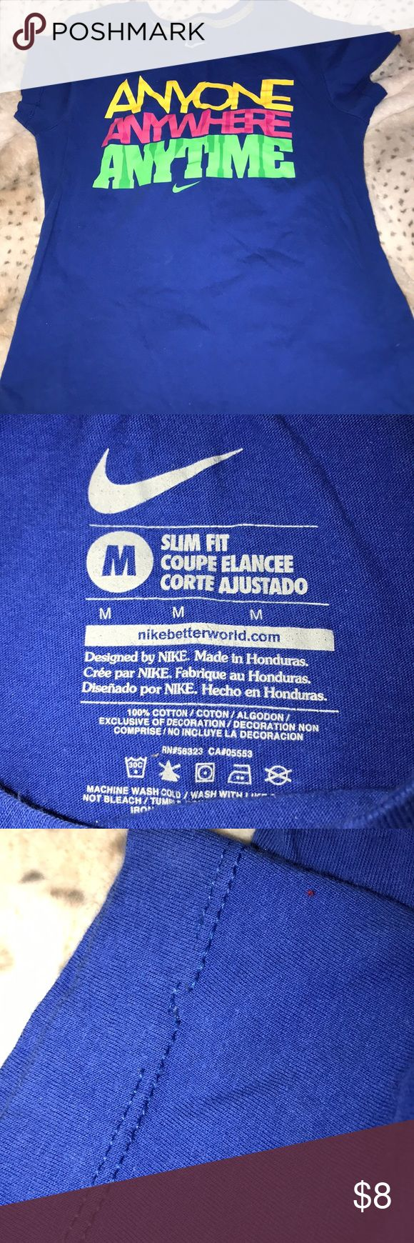 Medium Nike workout shirt Size woman's medium little snags in hem. Vibrant color may be some pilling I don't see any but opinions may very Nike brand Nike Tops Tees - Short Sleeve