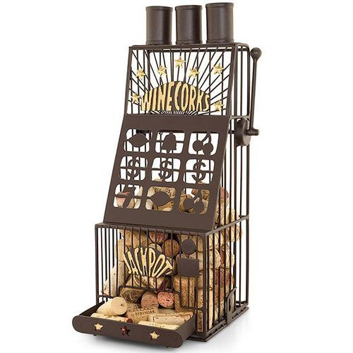 The Slot Machine Cork Cage, shaped like a slot machine, is a fun and innovative cork holder for wine and Champagne corks. This artisan crafted Slot Machine Cork Cage has the details of fine art and is