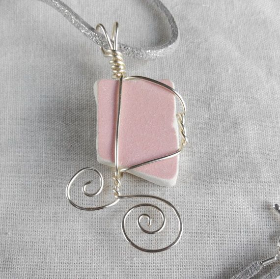 Genuine Irish sea pottery necklace pink. made in by terramor