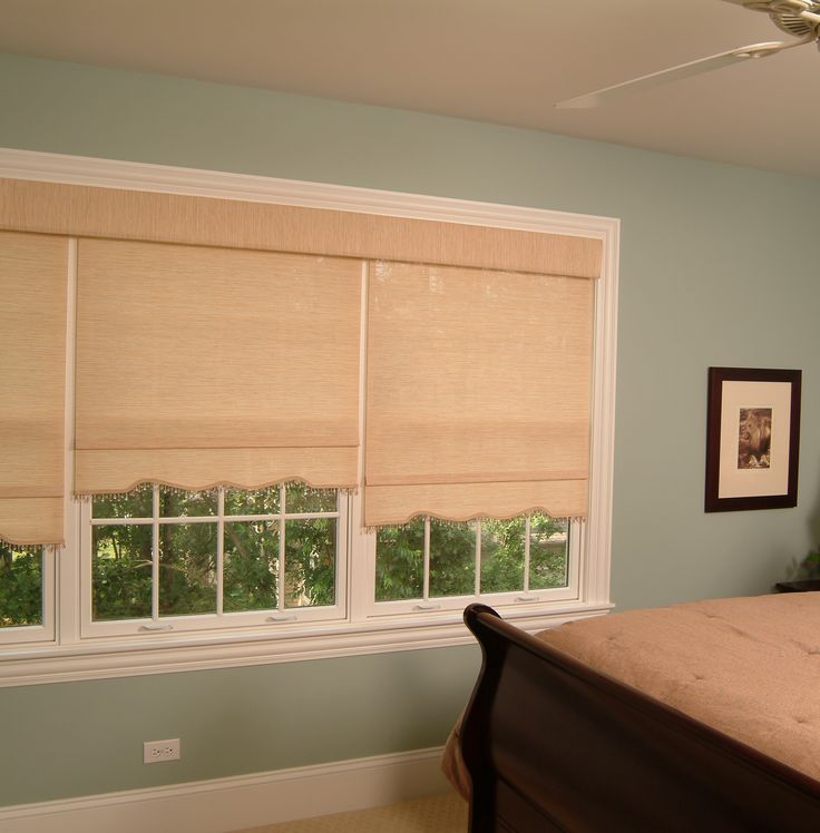 Roller Shades with coordinating valance and decorative