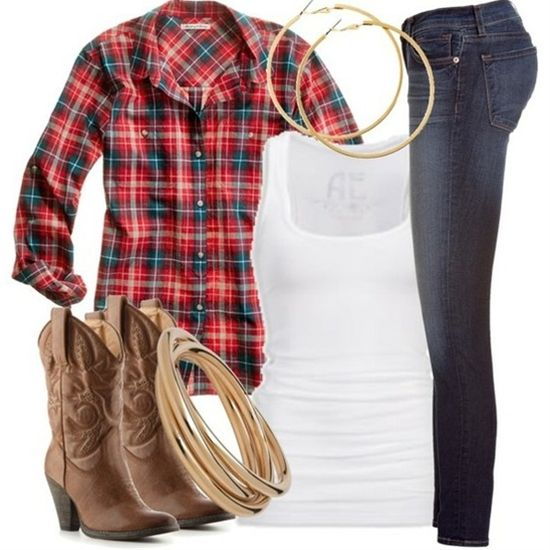 no. not real country girl outfit. those are skinny jeans. those boots have heels. and that shirt is probly from American eagle...   **face palm**
