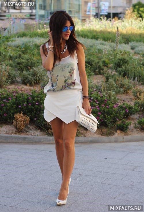 модная одежда для лета: белая юбка-оригами