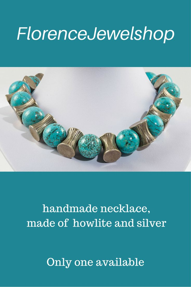 Blue silver gemstone beaded necklace, (hand)made of howlite and Thaisilver, finished with a magnetic clasp. You can wear this necklace on any occasion and it will look great on white, blue and turquoise clothing. ?195. Learn more: https://www.etsy.com/listing/129828419/blue-turquoise-howlite-necklace-handmade?ref=shop_home_active_15