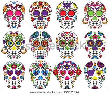 Vector Set of Day of the Dead or Sugar Skulls by PinkPueblo, via Shutterstock