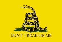 """The Gadsden flag is a historical American flag with a yellow field depicting a rattlesnake coiled and ready to strike. Positioned below the rattlesnake are the words ""Dont [sic] tread on me"". The flag is named after American general and statesman Christopher Gadsden (1724–1805), who designed it in 1775 during the American Revolution. It was also used by the Continental Marines as an early motto flag, along with the Moultrie Flag."""