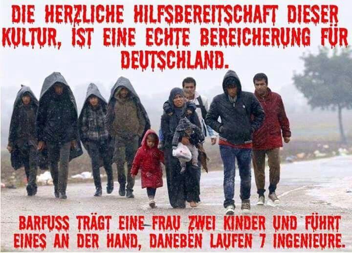 Die herzliche Hilfsbereitschaft dieser Kultur ist eine echte Bereicherung für Deutschland! Barfuß trägt eine Frau zwei Kinder und führt eins an der Hand. Daneben laufen 7 Ingenieure.