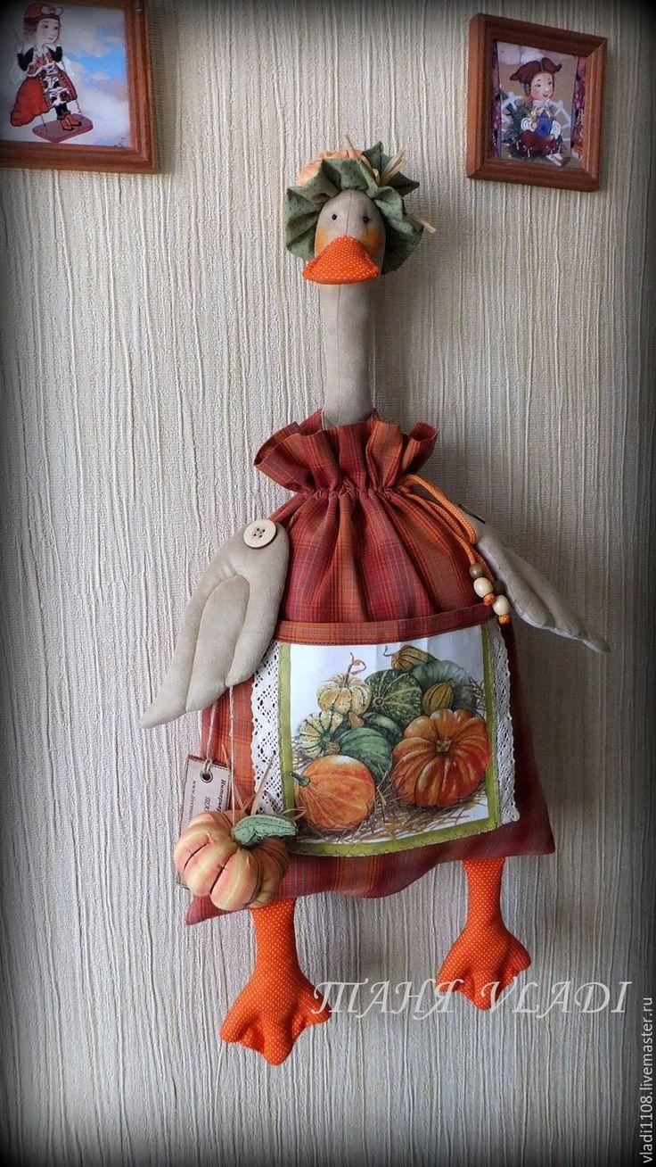 Купить ТЫКОВКА пакетница - оранжевый, тыква, утка, уточка, пакетница, кухонный интерьер, кухонный декор