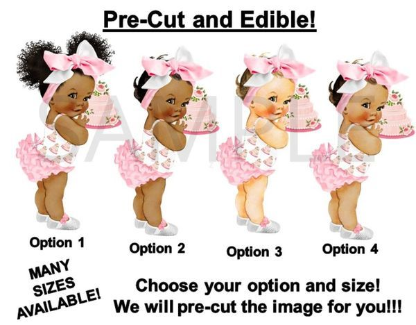 Afro Baby Centerpiece Baby Bow Pre Cut Lavender Ruffle Pants Big Head Bow Baby Girl Centerpiece with Wood Stand OR Card Stock Cut Out