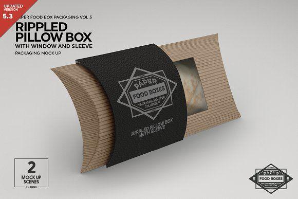 Rippled Pillow Box Packaging Mockup Pillow Box Packaging Mockup Food Box Packaging