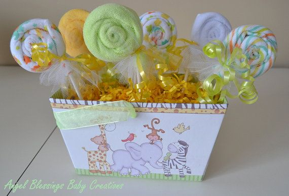 Washcloth Lollipops Baby Shower Centerpiece by AngelBlessings12, $18.00