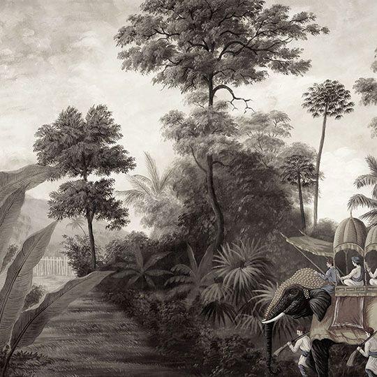 Paysages en grisaille - Bengale grisaille L430xH284cm - 5 lés de 86cm - ultra mat