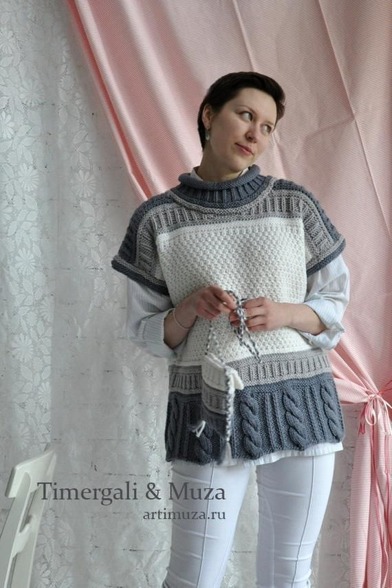 Knitted Sleeveless Jumper Loose Cut Oversize Gray White Cable Pattern Hand Knit Handbag Cute Womens Sleeveless Sweater Soft Knitted Pullover – вязание