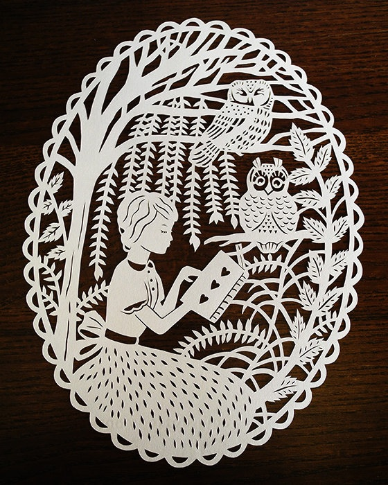"Original Papercut - Girl Reading with the Owls - Handcut 8x10"" Paper Illustration"