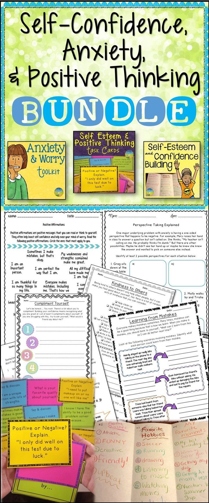Self-Confidence, Anxiety, and Positive Thinking BUNDLE. Elementary CounselingCounseling  ActivitiesSchool ...