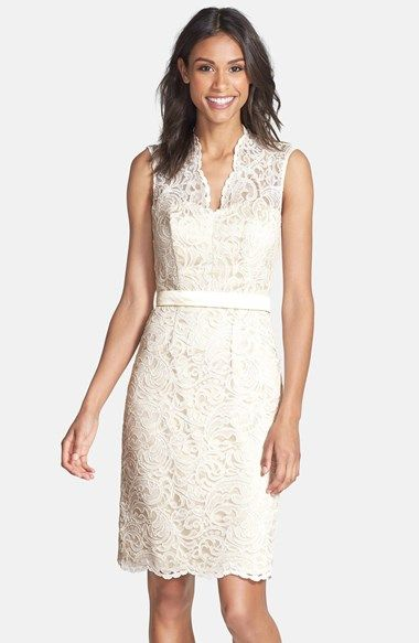 Free shipping and returns on Dessy Collection Lace Overlay Matte Satin Dress at Nordstrom.com. Flourishing lace overlays a fitted matte-satin sheath in this elegant V-neck dress. A tonal belt nips in the slim silhouette, further defining the feminine shape.