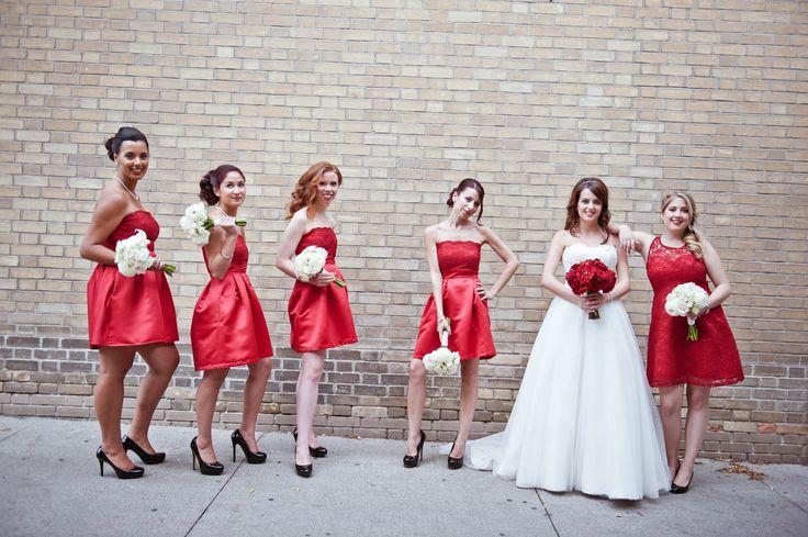 Bride and her bridesmaids outside of Biagio Ristorante, Toronto.  www.biagioristorante.com/