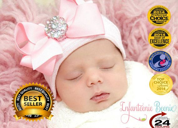 Newborn hospital hat by InfanteenieBeenie. The only newborn hat guaranteed to fit and stay snug to all newborns. Award winner & seen in Glamour and Life & Style Magazines!