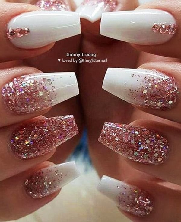 120 Best Coffin Nails Ideas That Suit Everyone Rose Gold Nails Glitter Rose Gold Nails Design Gold Acrylic Nails