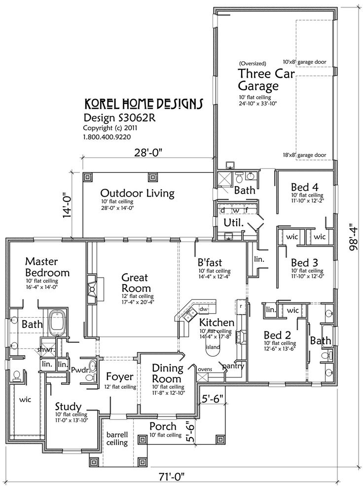 3062 SF. 4 BR, 4 BA with study, 3 car garage. House Plans by Korel ...