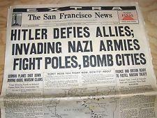 Sept. 1, 1939 san francisco newspaper: wwii begins as nazis invade ...