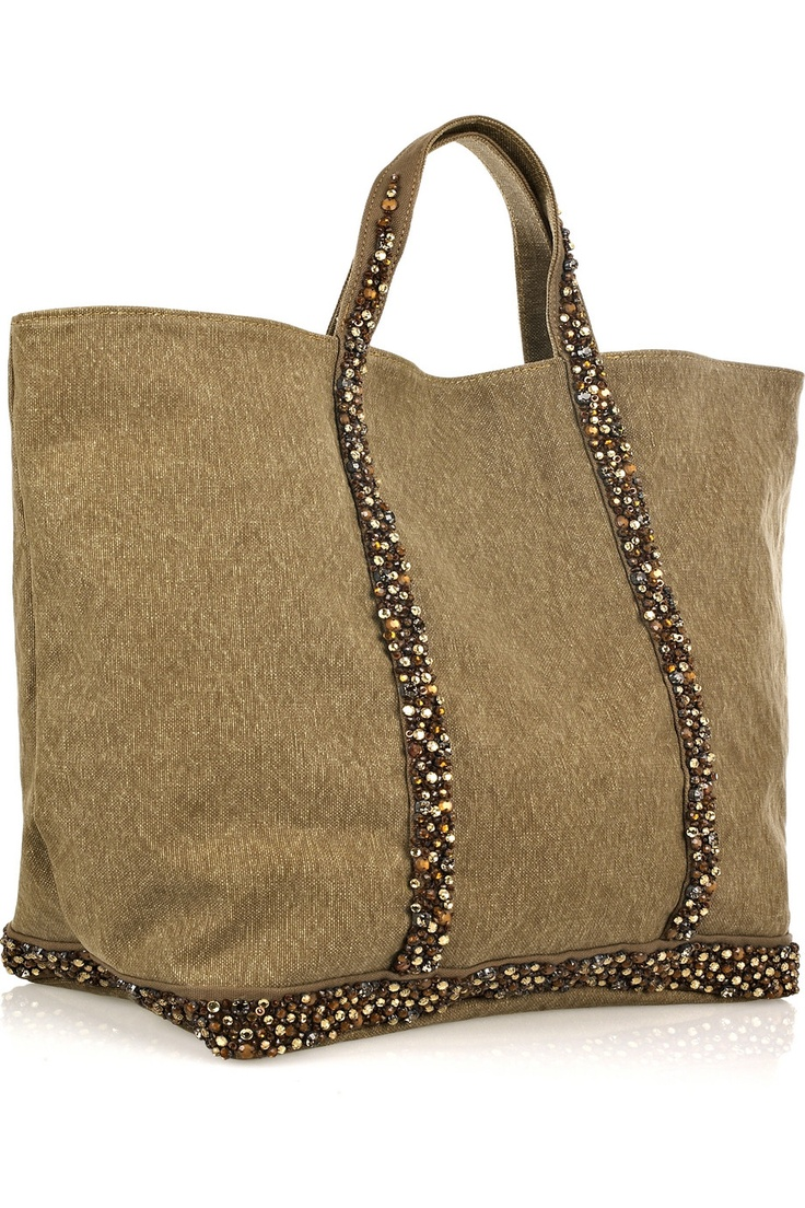 Vanessa Bruno Embellished cotton-canvas tote