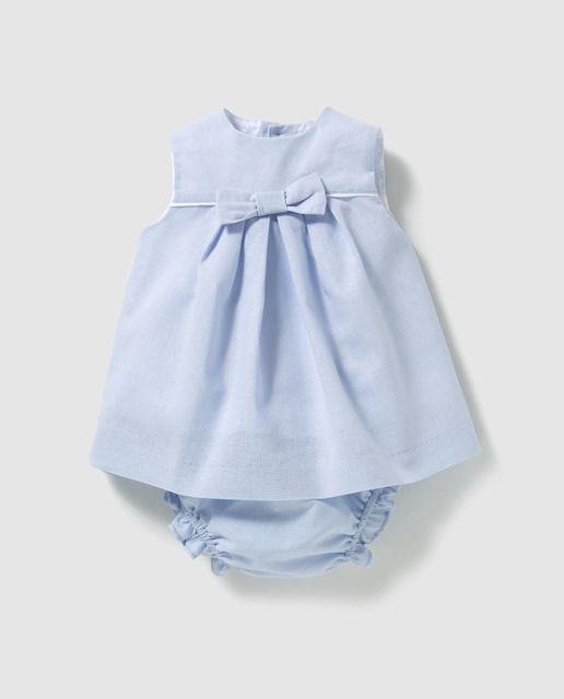 2a8c6f948 Vestido de bebé niña Dulces en azul con lazo