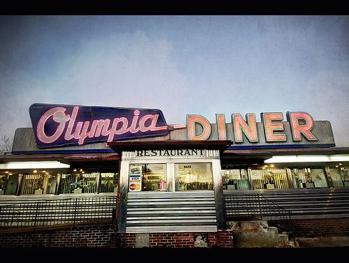 "Olympia Diner, Newington, Connecticut by Dave Williams Classic diner in Connecticut. From Flickr: "" The Olympia Diner, on the Berline Turnpike in Newington, was built around 1950. It was one of many..."