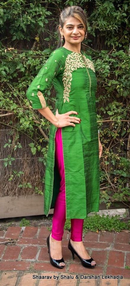 Green kurti with pink bottom