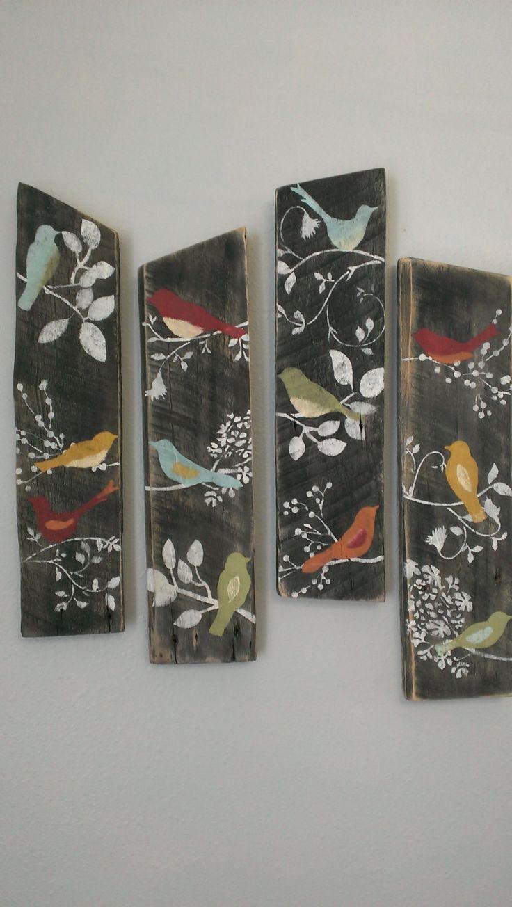 4 Bird Wall Decor Country Custom Order Rustic Shabby Chic Sign Barn Board Wood by ThreeTwigsDesigns on Etsy