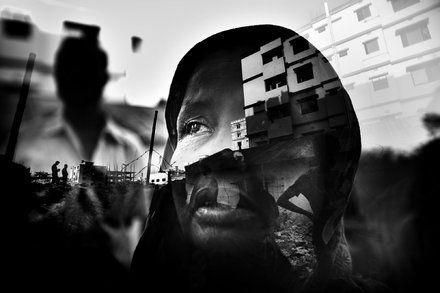 """Annalisa Natali Murri's series """"Then the Sky Crashed Down upon us"""" is a series of double exposures taken weeks before the anniversary of the Rana Plaza collapse. These images of people within the skeletons of the disaster reminds me of ghosts exploring an area where they've died and can't escape. Its almost too hard to look at the photos because of the pain in the eyes of everyone she photographs....."""