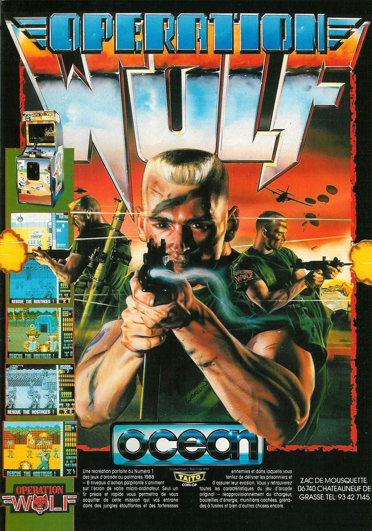 [1988] Operation Wolf is a one-player shooter video game made by Taito in 1987. The game was licensed to Ocean Software for various computer platform releases in 1988. >> https://nl.wikipedia.org/wiki/Operation_Wolf