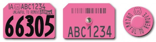 Allflex USDA PIN Visual Swine Premise Numbered Tag with Barcode and Premise ID number and Tamperproof Round