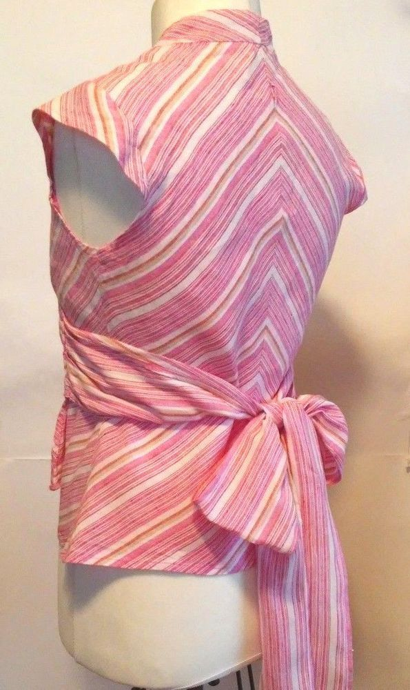 A WEAR pink linen blouse with bow size 12 L #AWEAR #Sexy #Career