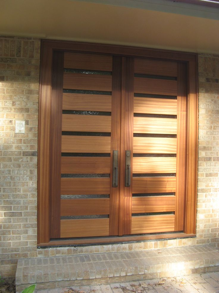 Others Design Fascinating Modern Wooden Double Front Door Ideas With Glass Also Elegant Door Handle Design Also Bricks Wall And Entry Stair Material